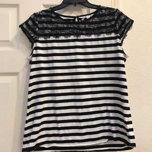 Elle striped top white and black with lace.
